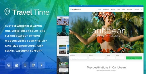 Travel Time - Tour Hotel & Vacation Travel WordPress Theme